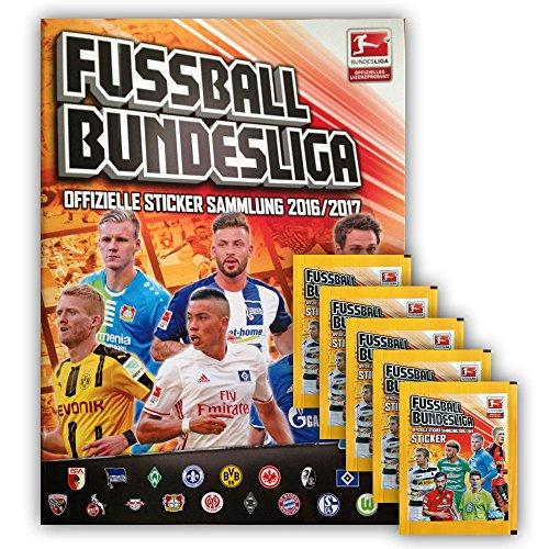Preisvergleich Produktbild Topps - Bundesliga 2016 2017 Sammelalbum + 5 Booster Packungen Sammelsticker - Deutsche Ausgabe
