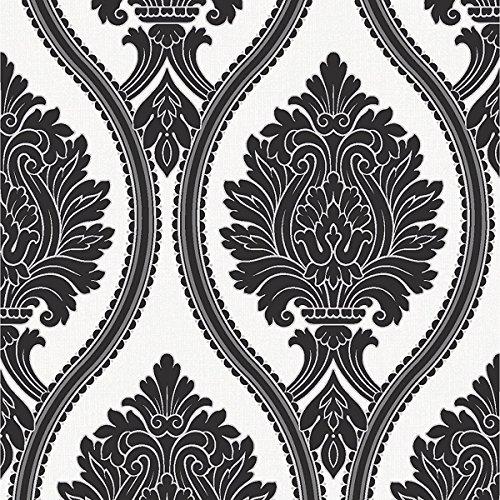 Arthouse Wallpaper Corona Damask Black And White 888001