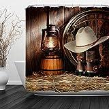 QIYI Duschvorhang Mehltau beständig,Antibakteriell,Kein chemischer Geruch,seidiges 100% Polyester-Gewebe,einfach abspülen und für Badezimmer hängen 150cmX 180cm-the cowboy lantern