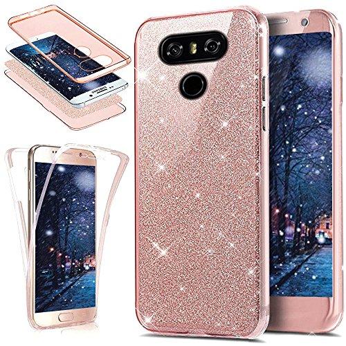 Kompatibel mit LG G6 Hülle,Full-Body 360 Grad Bling Glänzend Glitzer Klar Durchsichtige TPU Silikon Hülle Handyhülle Tasche Front Back Double Beidseitig Cover Schutzhülle für LG G6,Rose Gold