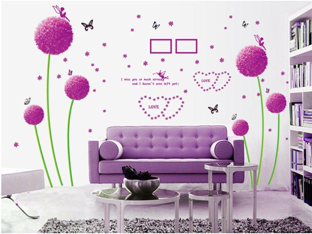 Ufengke® viola tarassaco farfalla angeli adesivi murali, camera da ...