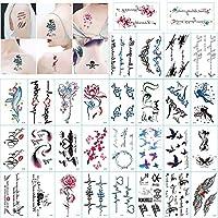 Barisc Temporary Tattoos for Women, 30 Pcs Waterproof Fake Tattoo Flowers Fox Pigeon Words Angle Body Art Stickers for Girls Boy Men Adult Kids, Hand Neck Arm Waist Leg Makeup Stickers (Style G)