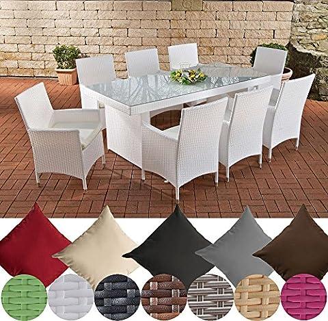 CLP Salon de jardin AVIGNON XL en résine tressée, 8 chaises Julia, table 200 x 90 cm, coussins très confortables, 4 couleurs au choix Couleur de rotin: blanc, Revêtement: crème blanc
