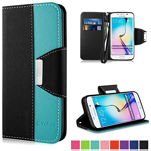 Samsung Galaxy S6 Edge Hülle,Vakoo Bookstyle Handyhülle Premium PU-Leder Tasche Etui Schutzhülle für Samsung Galaxy S6 Edge (Schwarz Blau)