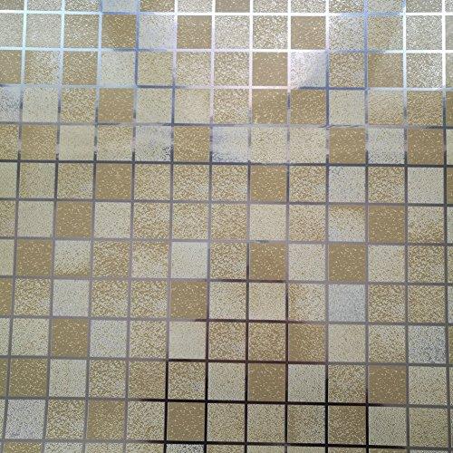 Backsplash Küche (dooxoo 44 x 200 cm Küche PVC Aluminium Folie self-adhensive Mosaik Aufkleber Öl Tapete Wand Aufkleber Badezimmer Spiegel Wasserdicht Wandtattoo - gold)