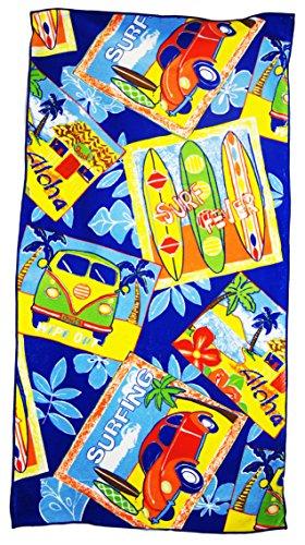 Lightweight Microfibre Beach Bath Towel Sports Travel Holiday Camping Gym (Blue)