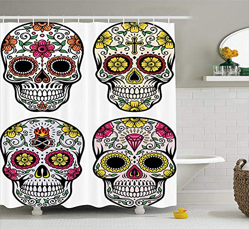 Nyngei Tag der Toten Dekor Duschvorhang Dia de Los Muertos Festliche Feier Schädel Kunst Bild Stoff Badezimmer Dekor Set mitGelb Weiß