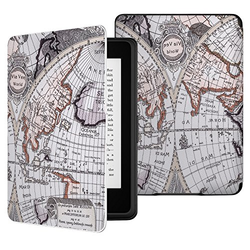 MoKo Kindle Paperwhite Funda - Ultra Slim Ligera Smart Shell Case Cover con Auto Estela / Sueño para Amazon All-New Kindle Paperwhite ( Ambos 2012, 2013, 2015 y 2016 Versións ), Map B