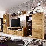 Pharao24 Wohnzimmer Schrankwand aus Eiche geölt 200 cm hoch LED Beleuchtung Energieeffizienzklasse LED