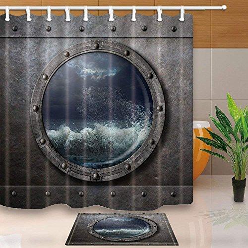 cdhbh Old Schiff Metall Bullauge oder Fenster mit Sea Storm 180x180cm Schimmelresistent Polyester Stoff Vorhang für die Dusche Anzug mit 40x60cm Flanell rutschfeste Boden Fußmatte Bad Teppiche