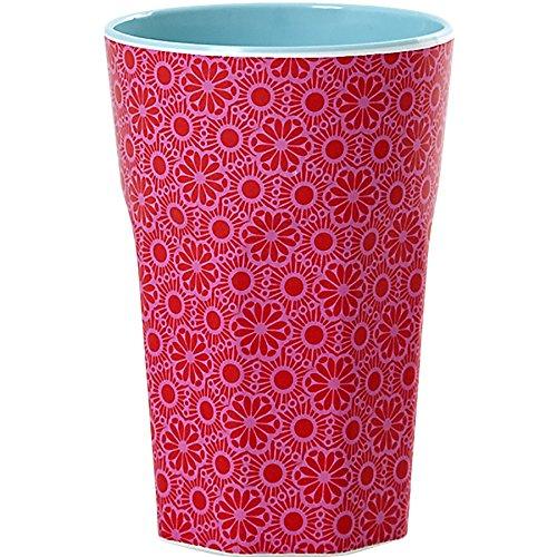 rice Becher Melamine Two Tone Latte Cup Marrakesh Print MAX Temp. 90C (Red & Pink innen Dark Mint) - Melamin Kaffee Becher Red