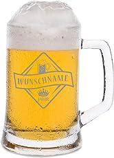 Leonardo Bierkrug mit Gravur - Bierkenner 2.0 - Personalisiert mit Namen & Geburtsjahr - Geschenk für Papa auch als Vatertagsgeschenk 0,5l Bierglas Bierseidel als Geburtstagsgeschenk für Männer