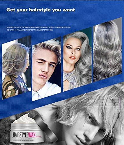 Cera de pelo de color, crema instantánea para peinado, crema profesional de 120g. Cera de peinado gris plateado de larga duración para hombres y mujeres para fiesta, discoteca, fiesta de disfraces, Halloween