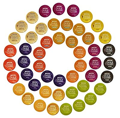 Nescafé Dolce Gusto Capsules All-inclusive Set, 50 Capsules - Variety Pack by E.U. Xtores