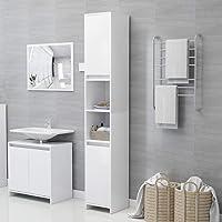 vidaXL Armoire de Salle de Bain Meuble de Rangement Armoire de Toilette Meuble de Salle de Bain Maison Intérieur Blanc…