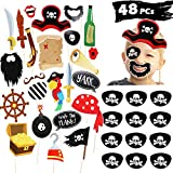 JDYW 48 Pieza Pirata Accesorios Parche Pirata Photo Booth Props Set Partido Pirata Suministros Reyes Magos para Niños Cosplay Partido Fiesta Accesorio