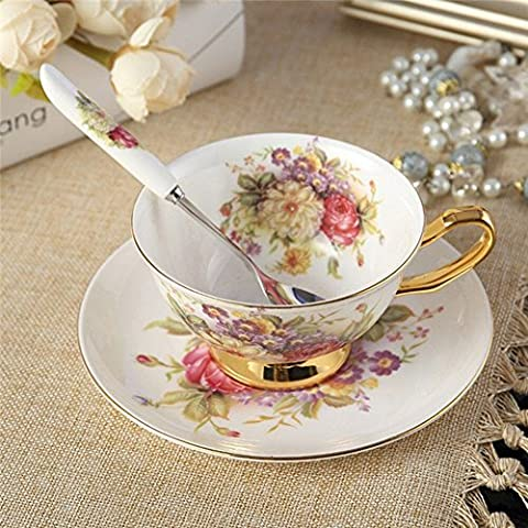 Touch Life Bone China Ceramic Tea Cup Coffee Cup Set Coffee Cup with Saucer,Small Flower ,White and Red,With Gift