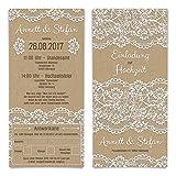 Hochzeitseinladungen Antwortkarte (80 Stück) - Kraftpapier Spitze - Hochzeitskarten Tickets