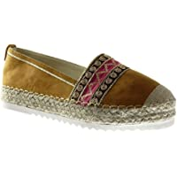 Angkorly - Scarpe Moda Espadrilla Slip-on Donna Corda Tacco Blocco 3.5 CM