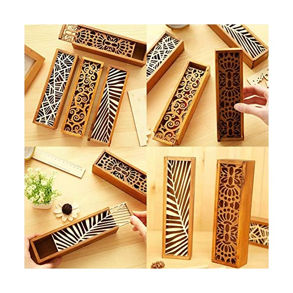 Estuche Cajas de Madera para Lápices Pluma, Plumier Vintage hueca para bolígrafo soporte cajas madera Tire lápiz…