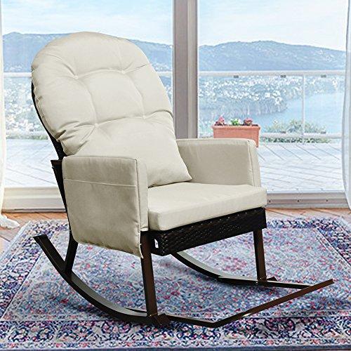 Outdoor Wicker Schaukelstuhl mit Fußstütze, Outdoor Glider Patio Sessel Lounge Chair, Allwetter Deckstuhl, UV-beständig und Anti-Rost Aluminium Frame (Beige) (Grün Schaukelstuhl-kissen)