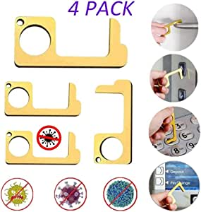 Jingmei Hands Free Keychain-Ready Hygienic No-Touch Door Opener,Reusable Personalized Keychain Keypad Stylus,Easy to Carry EDC Door Opener Tool,5pcs