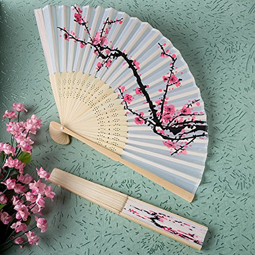 Delicadas favores ventilador plegable de seda flor de cerezo de diseño
