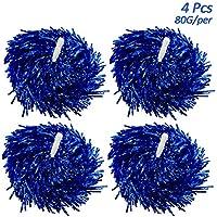 Creatiees 4 Piezas Prima de Pompones de Animación, 2 Pares Pompones de Cheerleading Pompones para animadoras para Fiesta de Disfraz Danza Noche de Baile Fiesta de Deporte(Azul, 80g)