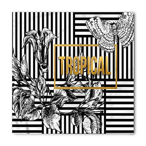 , Exotic Petals Butterfly, Unisex Bandana Head and Neck Tie Neckerchief Headdress Silk-Like 100% Polyester ()