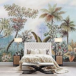 Lzhenjiang Papiers peints Le Fond Papier Peint Panoramique Les Plantes À Feuillage Tropical Grandes Murales Full House À La Figure450*315cm(W*H)