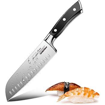 Santokumesser Küchenmesser Japanisches Kochmesser mit Kullenschliff, extrem Scharf Rostfrei Edelstahl Universalmesser 17 cm mit ergonomisch geformter Griff