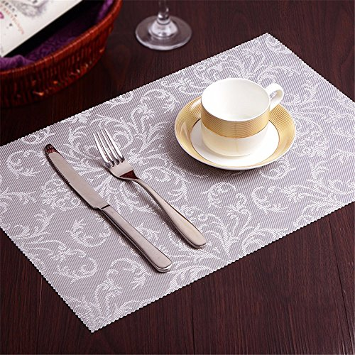 XXSZKAA Simple Et Moderne D'Impression Recto-Verso Table De Cuisine Mat Fournitures De Table D'Isolation Mat Tapis D'Isolation Western European Steak Napperons Sous-Verres Pvc Vaisselle Pad, Argent 2, 45 * 30Cm