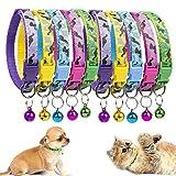 MOOKLIN Reflektierend Katzenhalsband mit Glocke, Katzen-Halsband Nylon, Verstellbar 19-32cm, 10er Set für Katzen, Welpen, Kleine Hunde - B