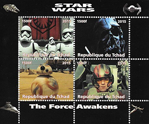 Original Arme Erreichen (The Force Erwacht Original-Star Wars-Filme Briefmarkenbogen mit Darth Vader / 2015 / MNH / Chad)