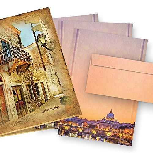 Briefpapier A4-Designpapier Petersdom Rom 25 Sets = 50 Teile + Extra-Geschenk, beidseitig wunderschön bedrucktes A4 Schreibpapier Sankt Peter im Vatikan in Rom, inkl. passender Briefumschläge