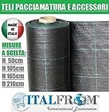 ITALFROM Teli Telo per PACCIAMATURA Nero QUADRETTATO Tessuto Polipropilene ANTISTRAPPO - mt 100 x 0.50 h