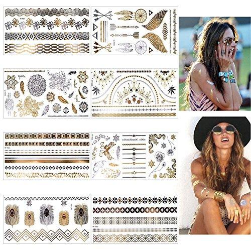 Temporäre Tattoo, Tätowierung Wasserdicht Metallic, 8pcs in Gold Silber Aufkleber Körper Gefälschte Schmuck Tattoos, Designs für Frauen Jugendliche Mädchen Body Art