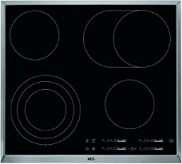 AEG HKA6507RAD Einbaukochfeld / autarkes Glaskeramikkochfeld mit Öko-Timer und 3-stufiger Restwärmeanzeige / 4 schnellaufglühende Kochzonen / 60 cm Kochfeld mit Mehrzweckkochzone / schwarz und silber