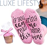 """If You Can Read This Bring Me Some Wine"" - Funny Socks with Cupcake Gift Packaging - Thermal Fuzzy Warm Cotton For Wife Women Hostess Housewarming Novelty Romantic Birthday Present Or Wine Lover"