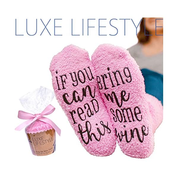 """If You Can Read This Bring Me Some Wine"" – Funny Socks with Cupcake Gift Packaging – Thermal Fuzzy Warm Cotton For Wife Women Hostess Housewarming Novelty Romantic Birthday Present Or Wine Lover 61HGjj13 0L"