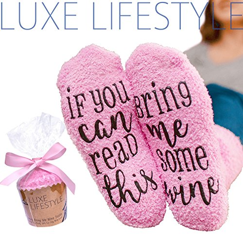 """If You Can Read This Bring Me Some Wine"" - Funny Socks with Cupcake Gift Packaging - Thermal Fuzzy Warm Cotton Perfect Gift For Wife Women Hostess Housewarming Novelty Romantic Birthday Present Or Wine Lover"