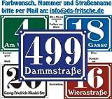 Hausnummern Schild aus Alu mit Wunschtext und Wunschfarbe, 20x15 cm (grün)