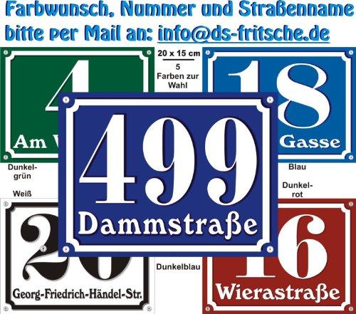 Hausnummern Schild aus Alu mit Wunschtext und Wunschfarbe, 20x15 cm (blau)