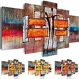 Cuadro 200x100 cm - 3 tres colores a elegi - XXL Format -Impresion en calidad fotografica - TOP - Cuadro en lienzo tejido-no tejido - 5 Partes � Abstracci�n Forma - como pintada h-A-0077-b-p 200x100 cm B&D XXL
