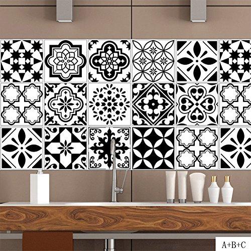 AmazingWall Schwarz und Weiß Fliesen Wandtattoo Nordic Küche Badezimmer Dekoration Aufkleber schälen und Stick 100x 20cm 4Pcs/Set Cz023