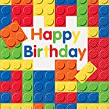 Unique Party  58232  - Building Blocks Birthday Paper Napkins, Pack of 16