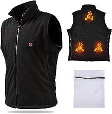 Vinmori Elektrische Beheizte Weste, Waschbare Größe Einstellbar USB-Lade Erhitzt Polaren Fleece Kleidung Winter Warme Weste (Schwarz)