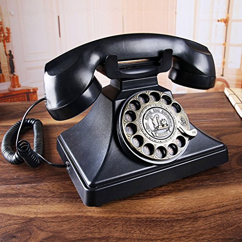 NDIANHUA Europäische Antike Telefon Vintage Retro-Festnetz-Home-Office-Festnetz-Telefon Black Button/Metall Wählscheibe Mechanical Ringing Freisprecheinrichtung Anruf A+ (Farbe : Rotary Dialing) - Black Button Studio