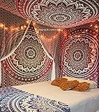 Raajsee Tapisserie style mandala à motif foncé multicolore d'environ 220x240cm, Coton, Red, 220*240cms