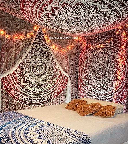 Raajsee Indisch Psychedelic Wandteppich Mandala Rot Weiß Ombre Tapestry/ Elefant Boho Wandtuch Hippie/ Indien Mehrfarbige Handgefertigt Wandbehang Queen 94x84 Inches / 100% baumwolle Bohemian Wand Kunst (Wandteppiche Wandteppiche Rot)